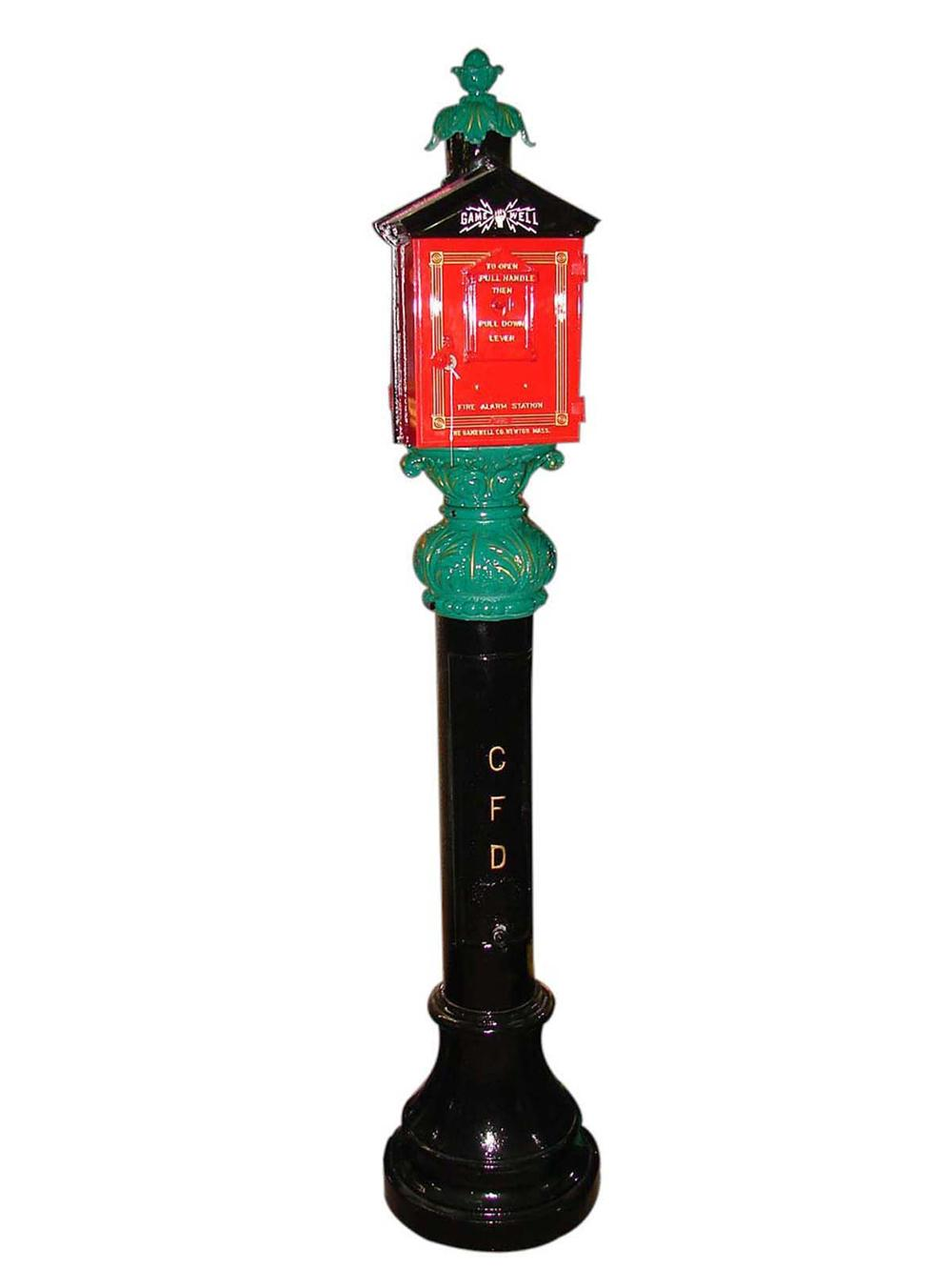 Stunning restored 1920s Chicago Fire Department cast iron sidewalk Fire Alarm Call Box with decorative filigree. - Front 3/4 - 112925