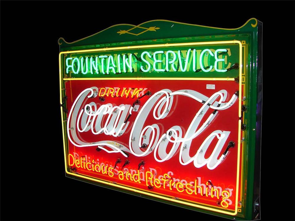 "1930s Drink Coca-Cola ""Fountain Service"" single-sided porcelain sign with neon. - Front 3/4 - 112939"