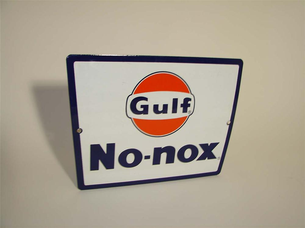 N.O.S. late 1950s Gulf No-Nox porcelain pump plate sign with logo. - Front 3/4 - 112957