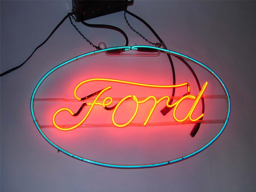 Striking 1930s Ford Automobiles script neon showroom sign. - Front 3/4 - 112969