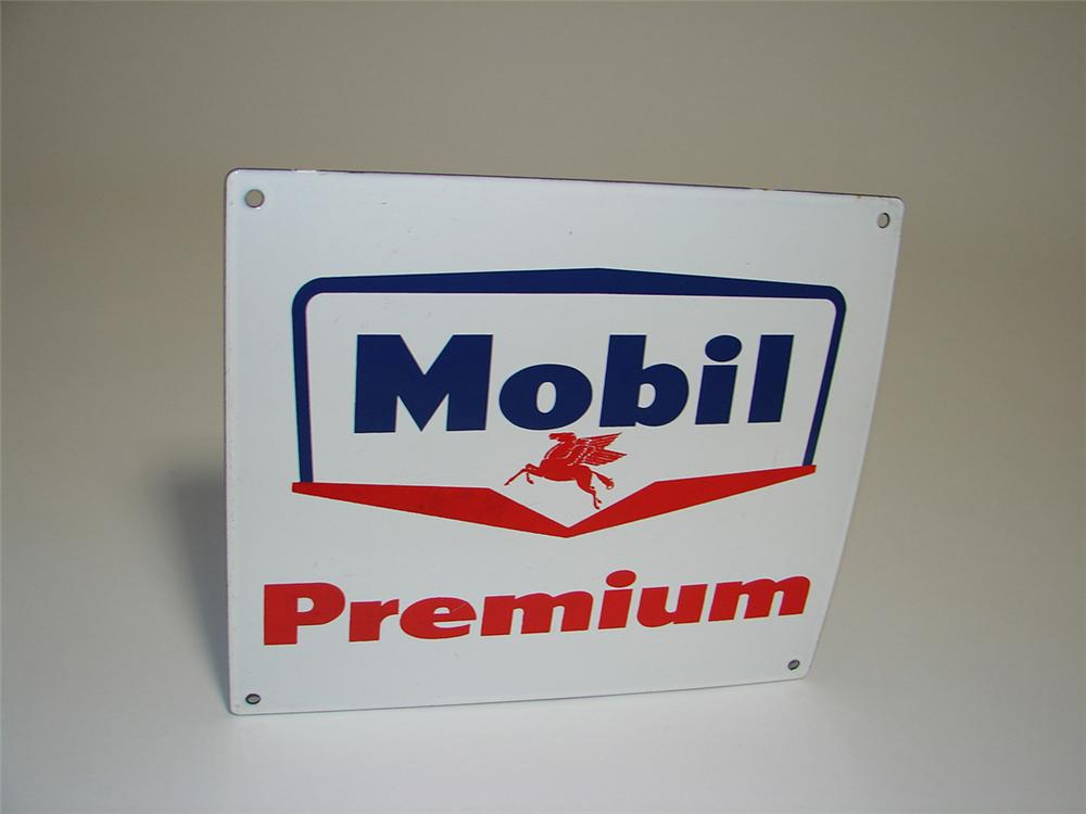 N.O.S. late 1950s Mobil Premium porcelain pump plate sign with Pegasus logo. - Front 3/4 - 112982