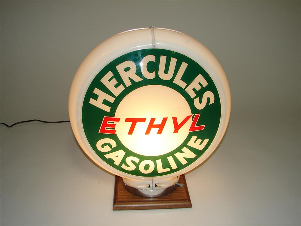 Hard to find 1950s Hercules Ethyl Gasoline gas pump globe with glass lenses in an original Capcolite body. - Front 3/4 - 112992
