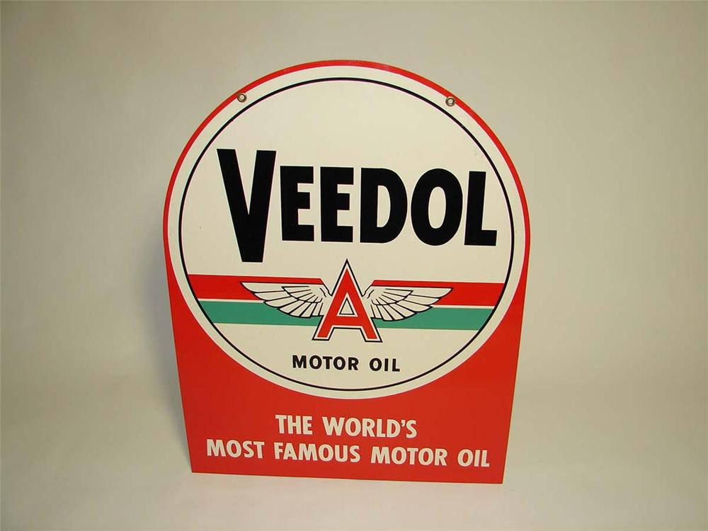 N.O.S. 1940s-50s Veedol Motor Oil double-sided tin painted garage sign with Flying A logo. - Front 3/4 - 112994