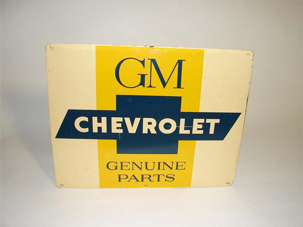 1950s GM Chevrolet Genuine Parts single-sided tin dealership sign with Bowtie logo. - Front 3/4 - 112996