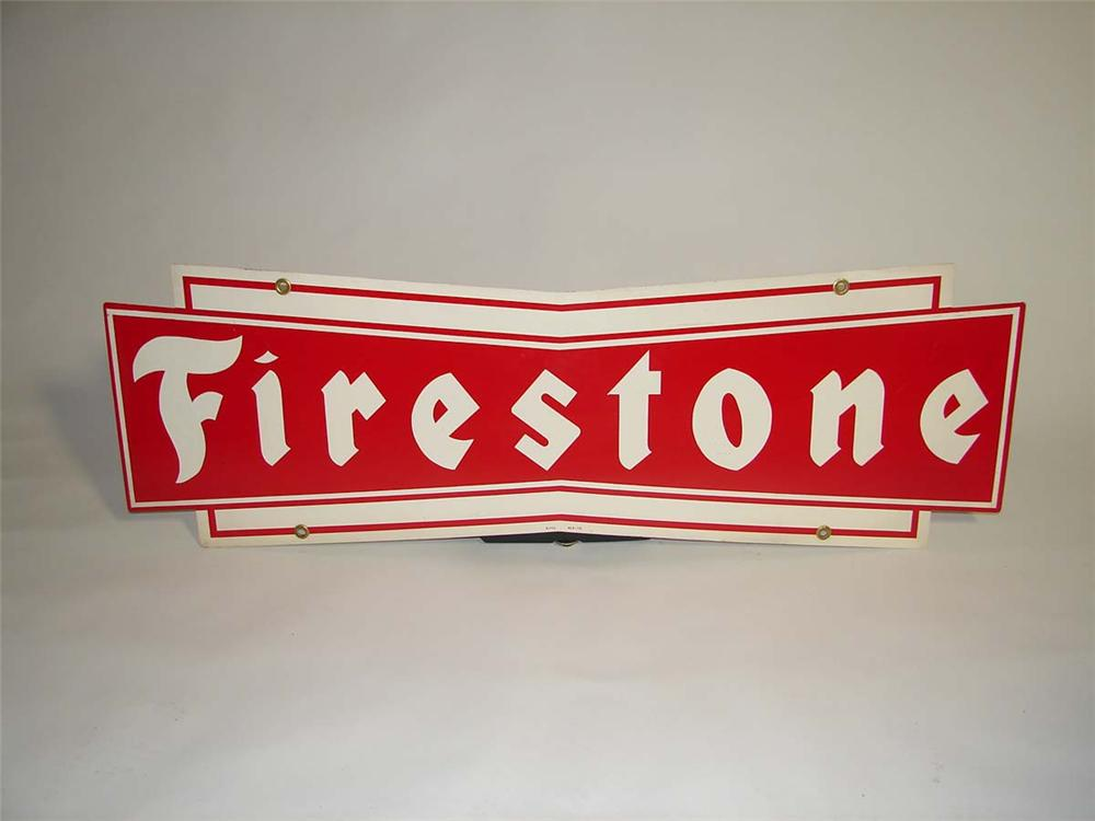 N.O.S. 1950s Firestone Tires double-sided tin garage sign. - Front 3/4 - 112999