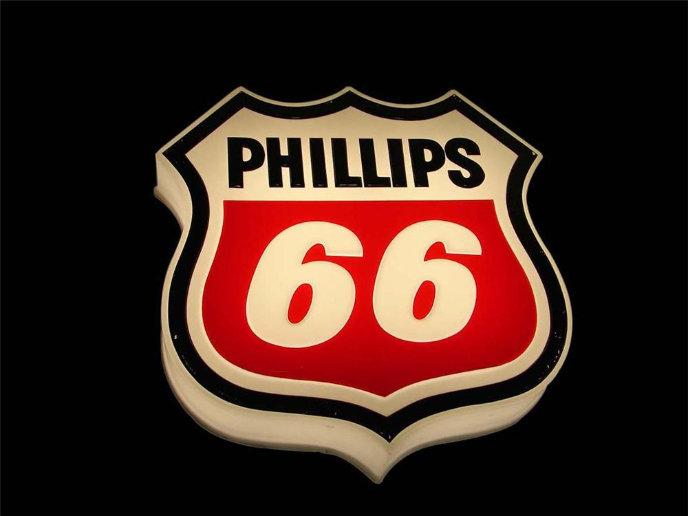 Seldom seen late 1960s Phillips 66 single-sided light-up service station sign. - Front 3/4 - 113000