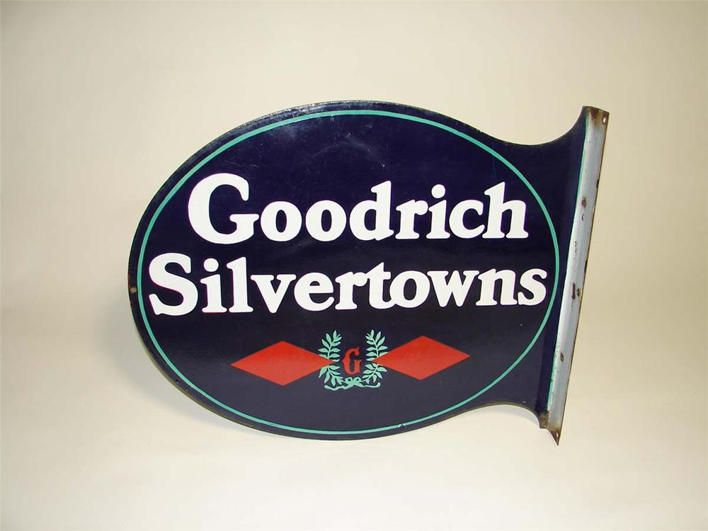 Sophisticated 1930s Goodrich Silvertowns double-sided porcelain garage flange sign. - Front 3/4 - 113003