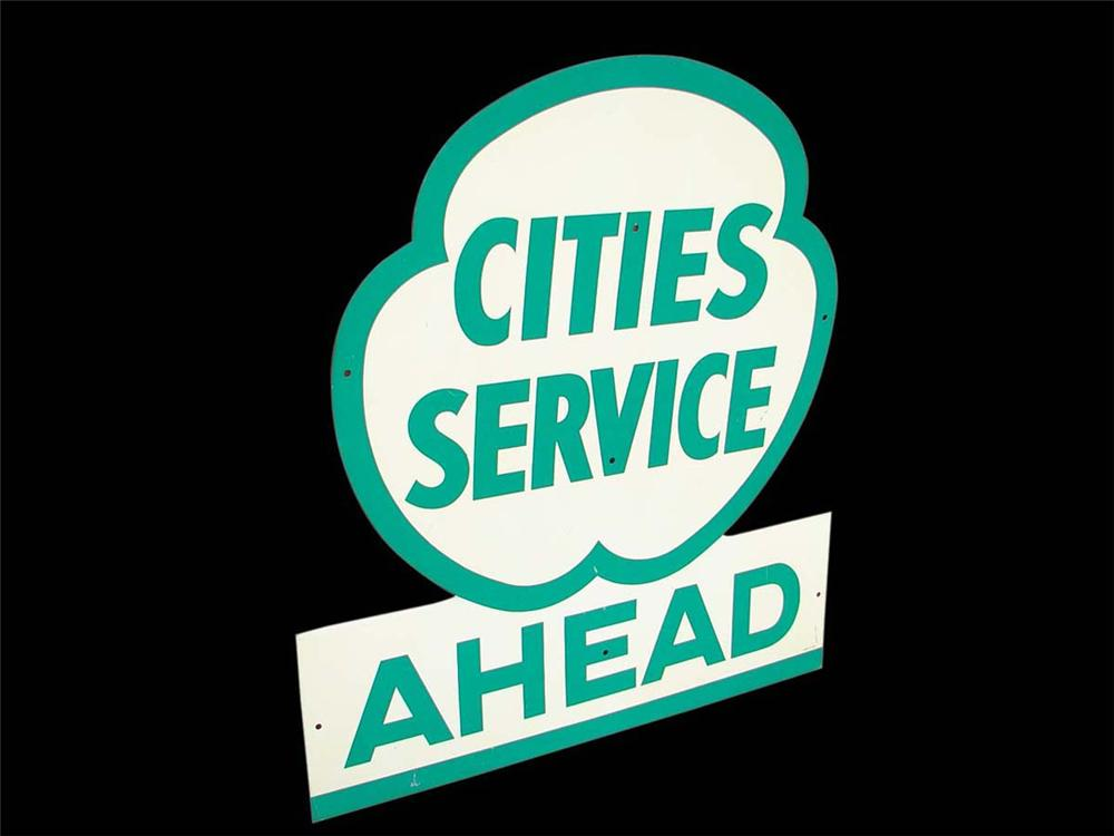 Impressive late 1940s-50s Cities Service Ahead single-sided tin painted service station sign. - Front 3/4 - 113004