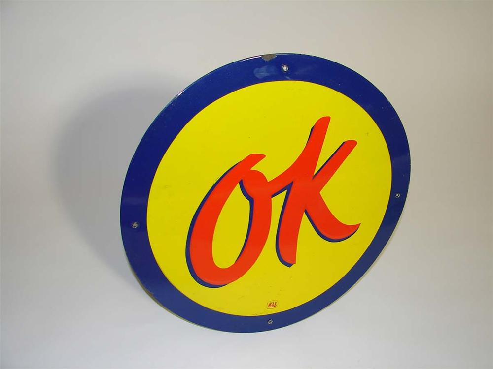 Very desirable 1950s Chevrolet OK Used Cars single-sided porcelain dealership sign. - Front 3/4 - 113006