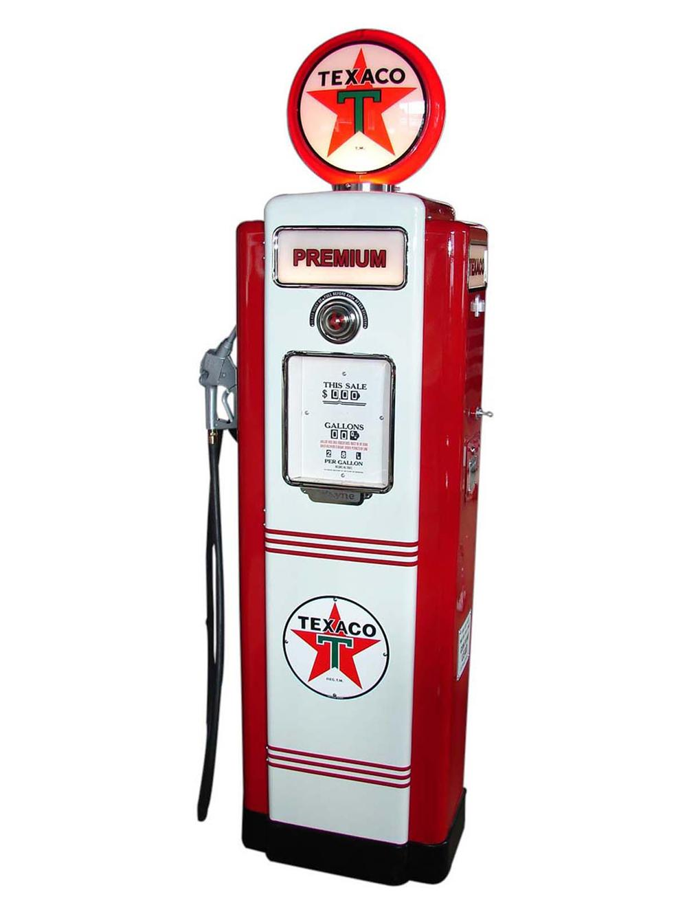 Incredibly restored 1948 Texaco Oil Wayne model #70 restored service station pump. - Front 3/4 - 113017
