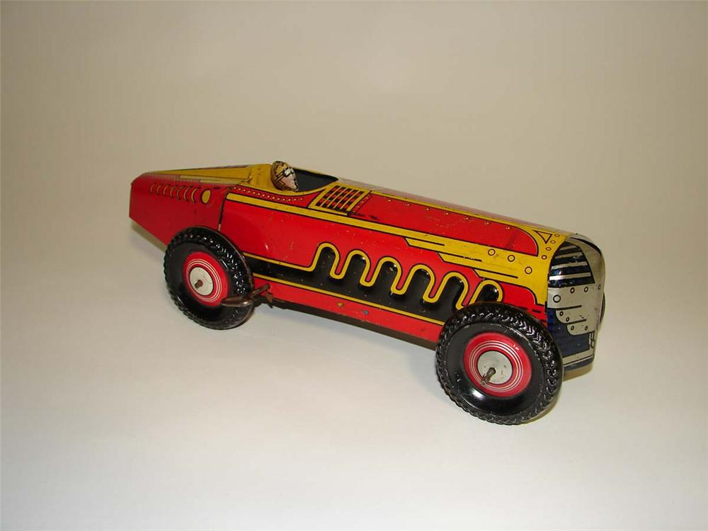 Killer 1930s Marx tin-litho grand prix wind-up race car with driver. - Front 3/4 - 113028