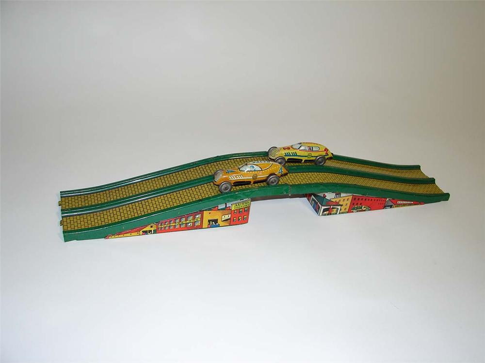 Wonderful 1935 Marx Speedway race set with two tin-litho race cars and sixteen feet of track. - Front 3/4 - 113031