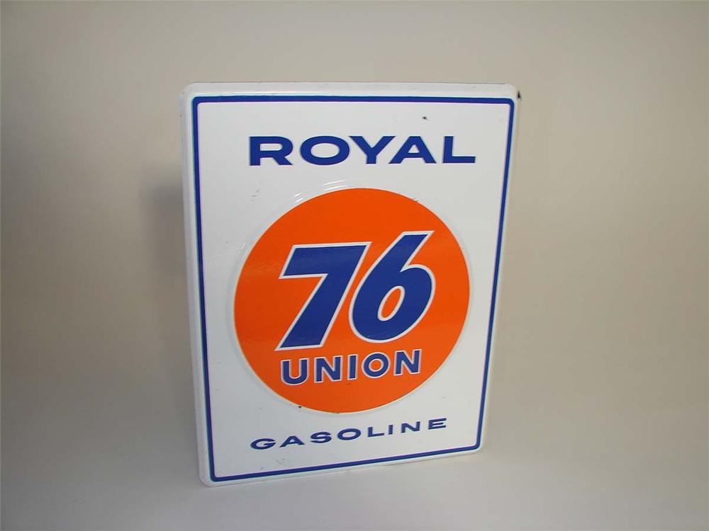 Very nice late 1950s Union 76 Royal Gasoline embossed porcelain pump plate sign. - Front 3/4 - 113034