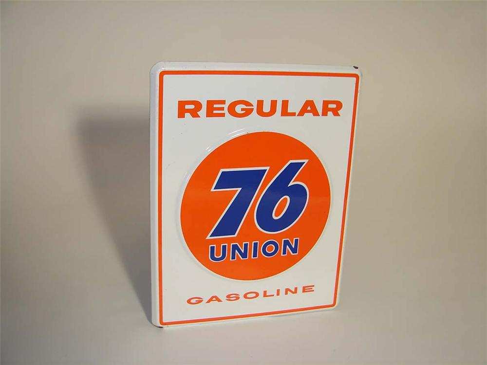 Exceptional late 1950s Union 76 Regular Gasoline embossed porcelain pump plate sign. - Front 3/4 - 113035