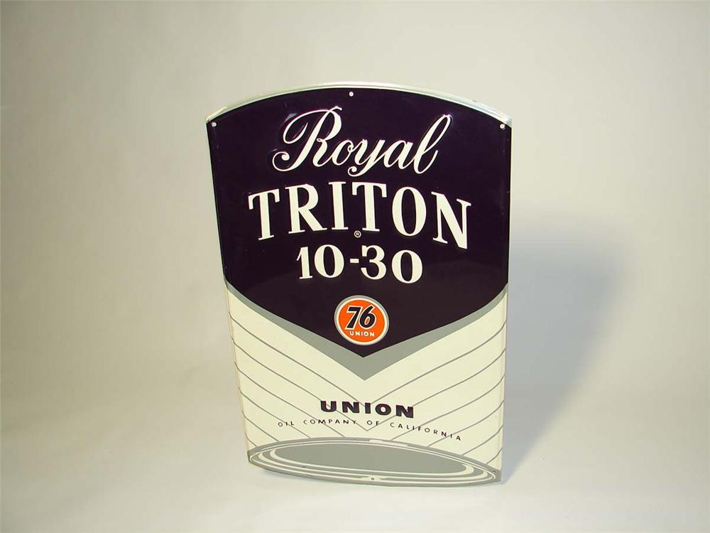 N.O.S. late 50s-early 60s Union 76 Royal Triton Motor Oil can-shaped die-cut tin service station sign. - Front 3/4 - 113037