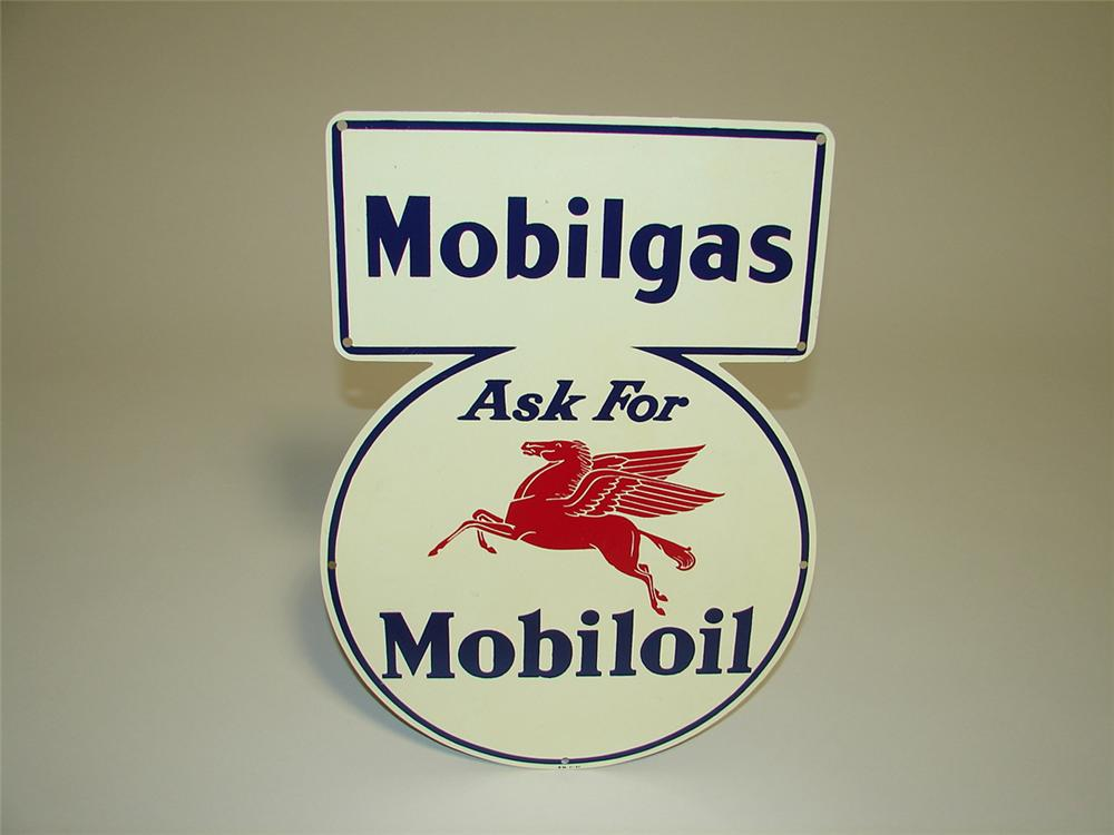 N.O.S. 1941 Mobilgas-Mobil Oil die-cut tin painted lubester sign with Pegasus logo. - Front 3/4 - 113038