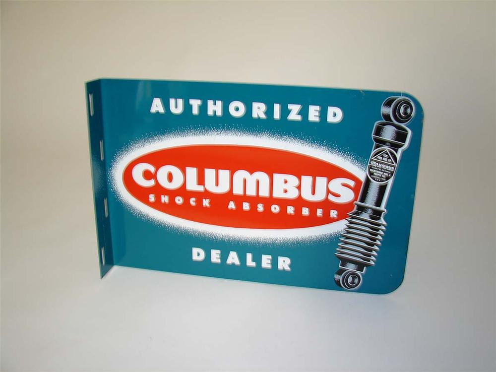 N.O.S. 1950s Columbus Shock Absorber dealer double-sided tin automotive garage flange with nice graphics. - Front 3/4 - 113048