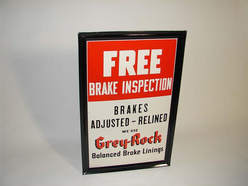 N.O.S. late 1940s-early 50s Gray-Rock Brake Service self-framed vertical tin garage sign. - Front 3/4 - 113049