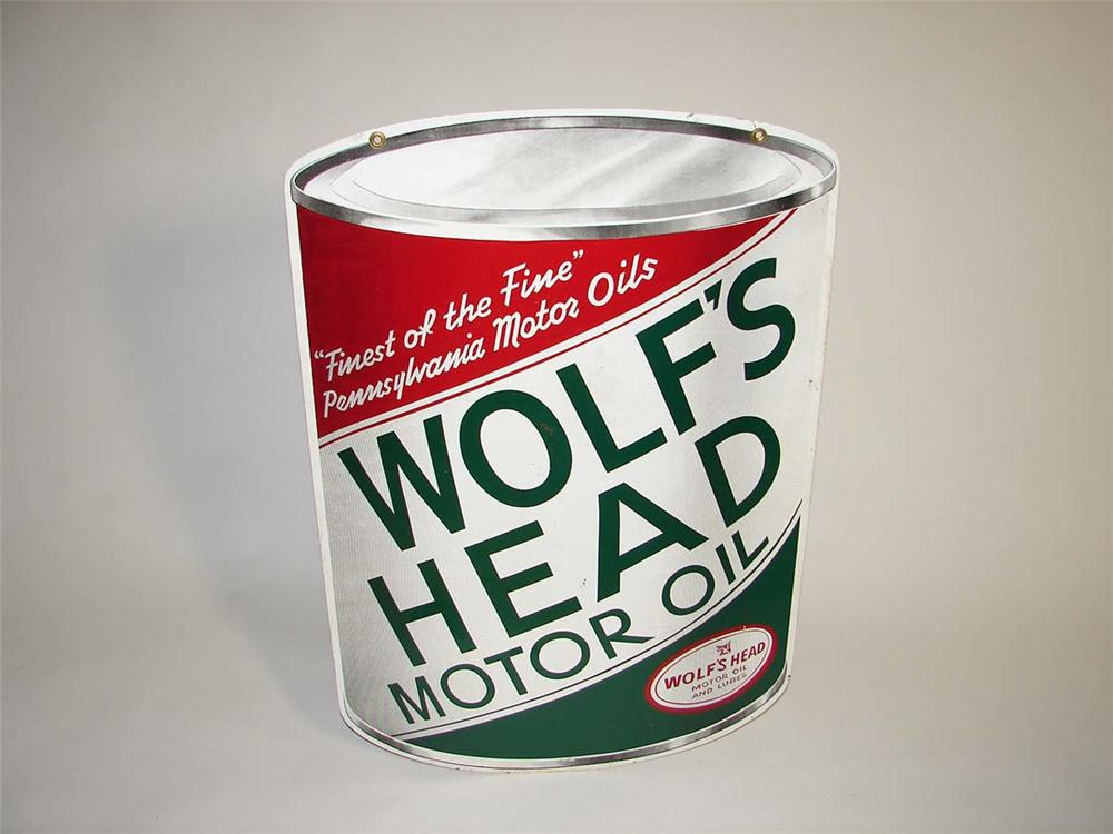Very neat 1950s Wolfs Head Motor Oil double-sided die-cut tin can-shaped garage sign. - Front 3/4 - 113050