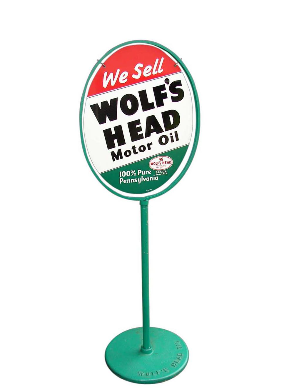 N.O.S. Wolfs Head Motor Oil double-sided tin painted curb sign with original base. - Front 3/4 - 113051