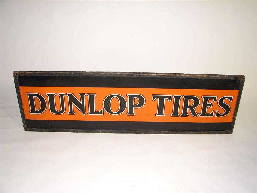 Extremely rare 1926 Dunlop Tires single-sided tin painted wood framed garage sign. - Front 3/4 - 113052