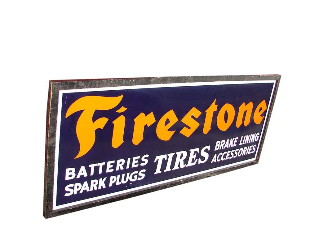 1930s N.O.S. Firestone Tires and Accessories single-sided wood framed porcelain garage sign. - Front 3/4 - 113055