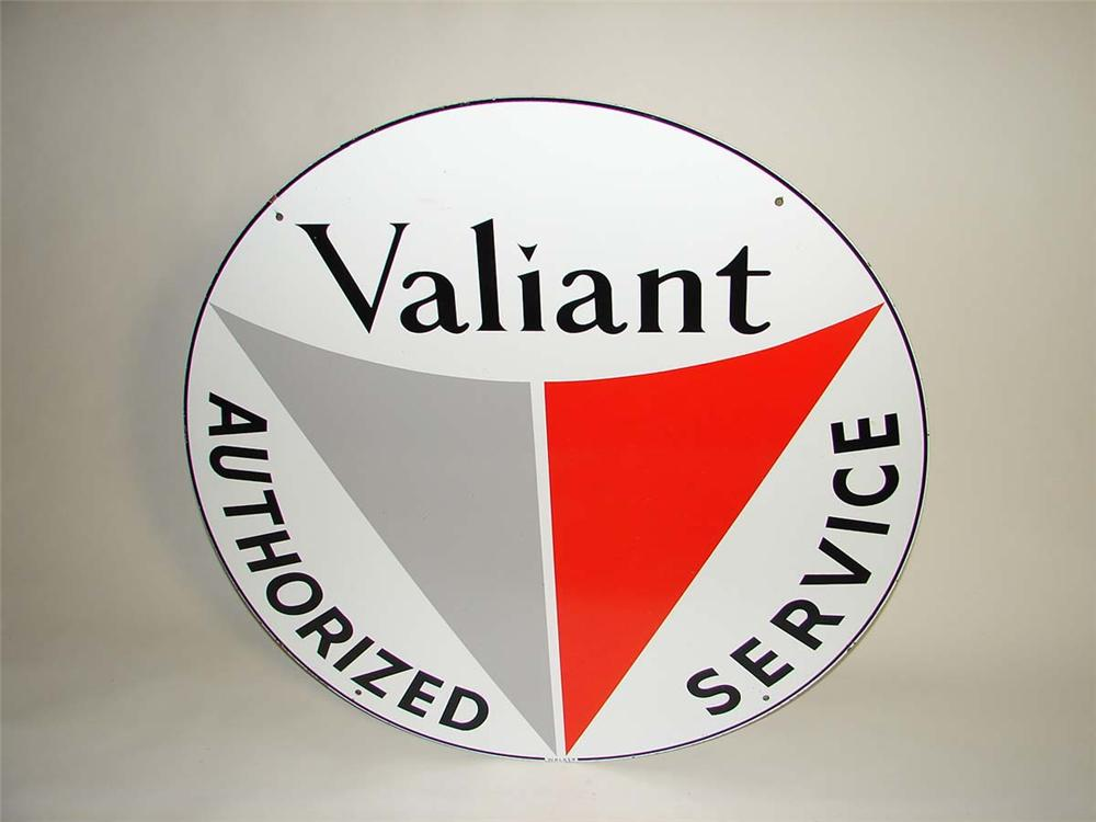 1960s Plymouth Valiant Authorized Service double-sided porcelain dealership sign. - Front 3/4 - 113057