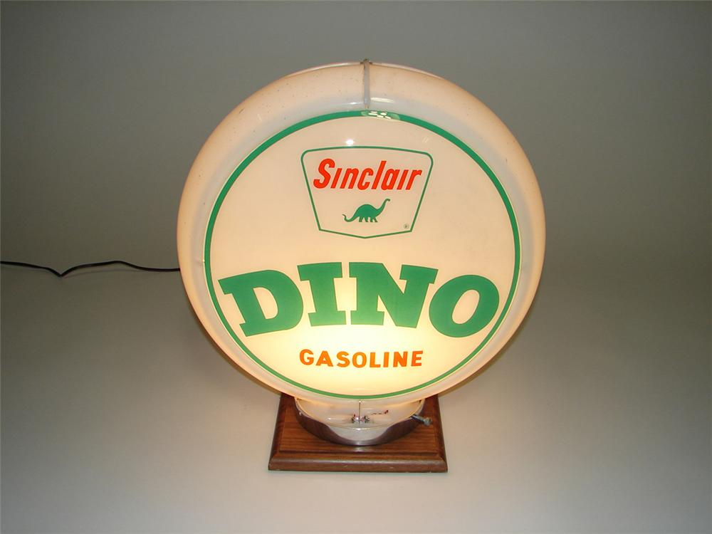 1950s-60s Sinclair Dino Gasoline gas pump globe with glass lenses in an original Capcolite body. - Front 3/4 - 113060