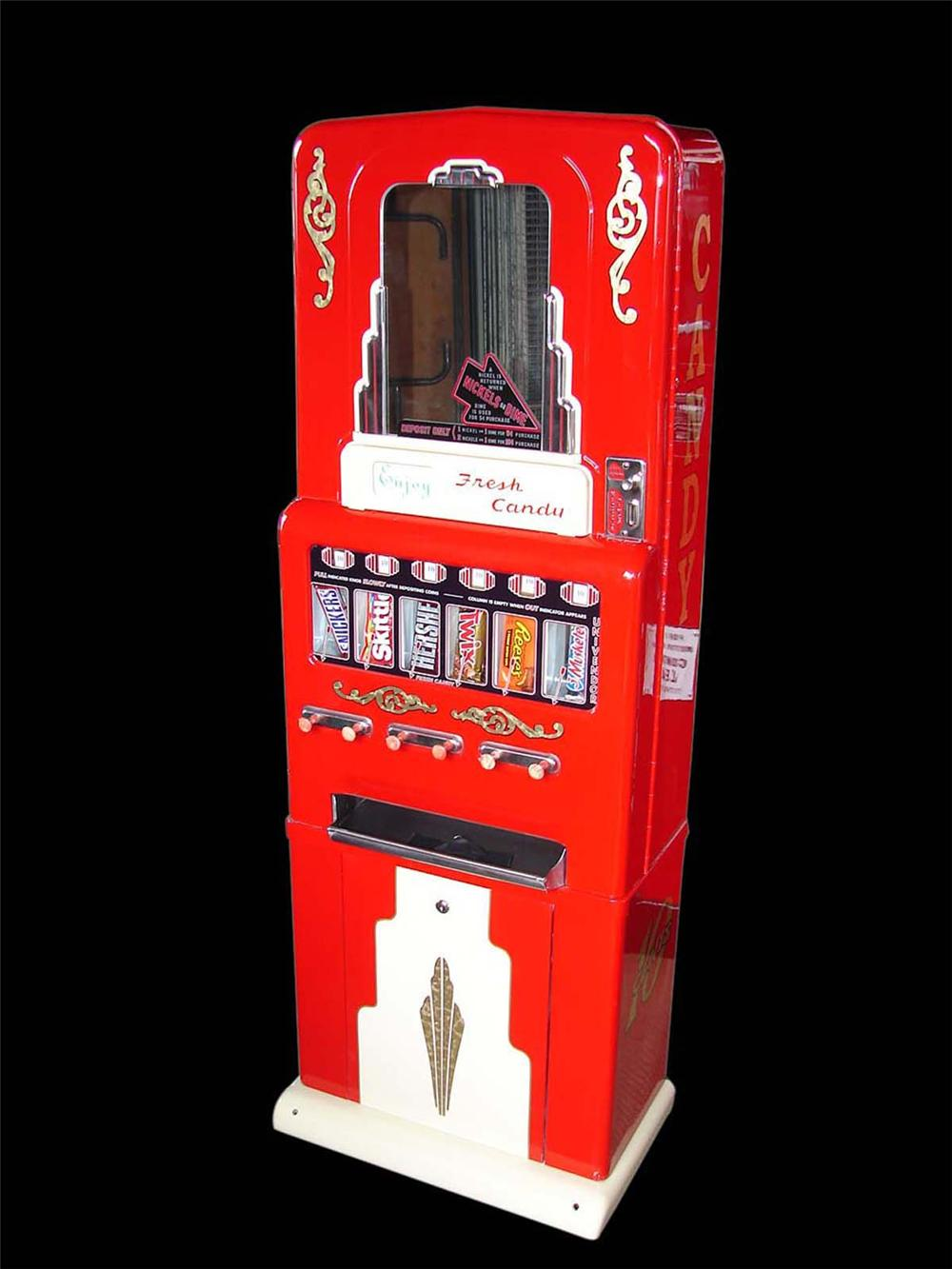 Beautifully restored 1930-40s Stoner six selection service station candy machine with bakelite knobs. - Front 3/4 - 113063