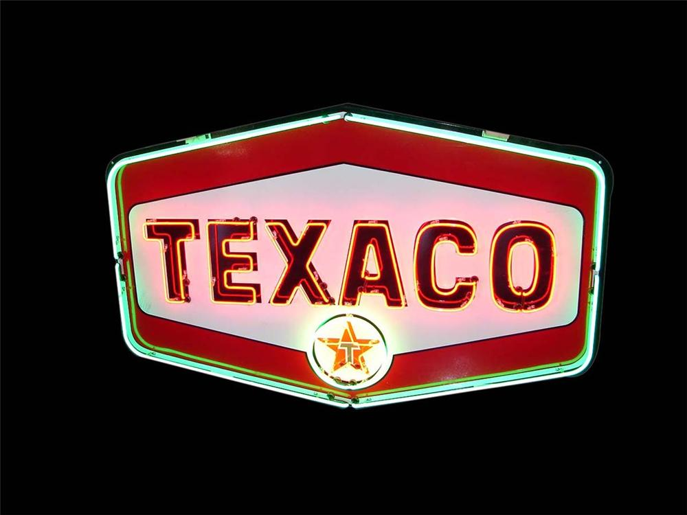 Magnificent large late 1950s Texaco Oil service station single sided porcelain sign with animated neon. - Front 3/4 - 113136