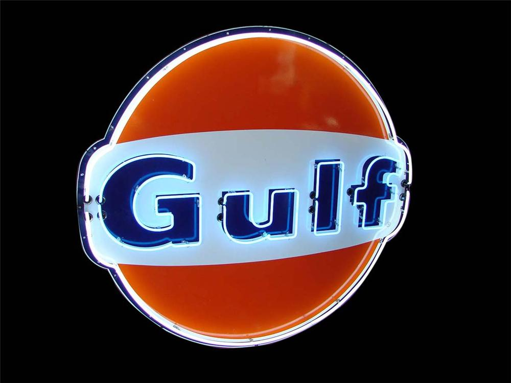 Iconic late 1950s-60s large Gulf Oil single-sided porcelain neon service station sign. - Front 3/4 - 113137