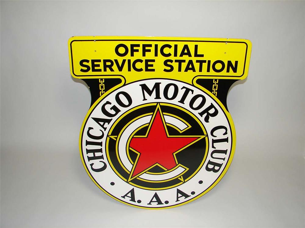 Very clean 1940s Chicago Motor Club double-sided porcelain service station sign. - Front 3/4 - 113140