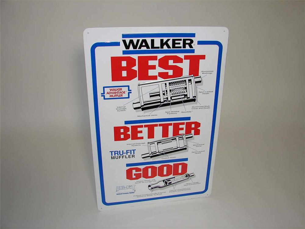 N.O.S. Walker Good-Better-Best single-sided tin painted garage sign with graphics. - Front 3/4 - 113142