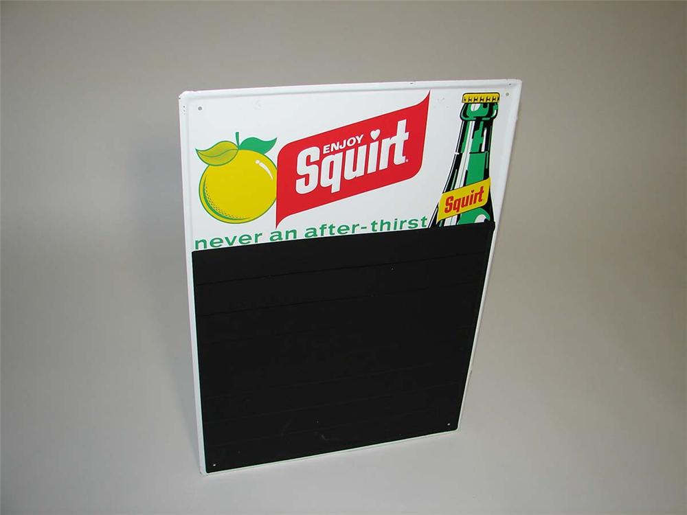N.O.S. 1960s Squirt Soda tin menu board sign with embossed bottle graphic. - Front 3/4 - 113143