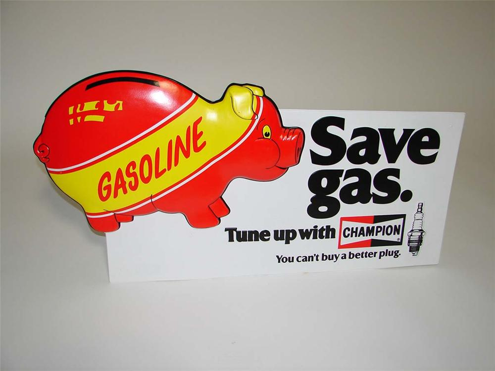 "N.O.S. 1960s-70s Champion ""Save Gas"" store sign with three-dimensional piggy bank graphic. - Front 3/4 - 113144"