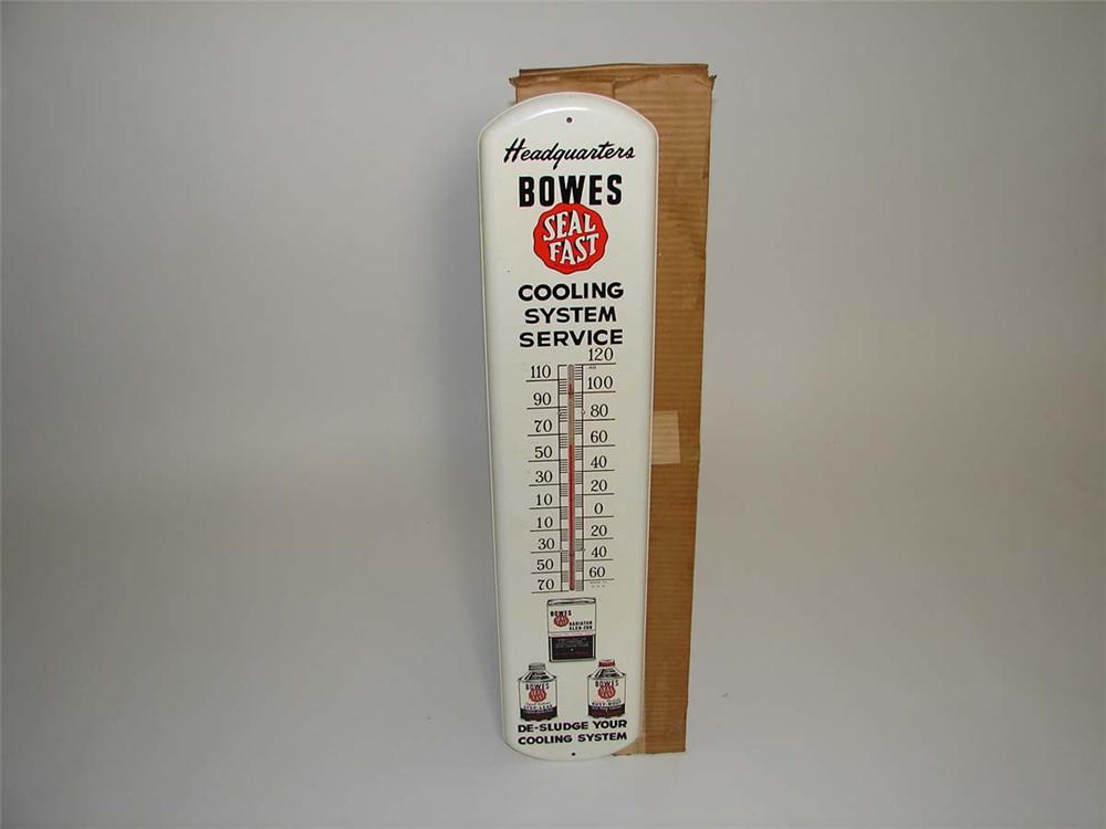 Impressive 1950s Bowes Seal Fast Automotive Cooling System service products over-sized tin painted garage thermometer. - Front 3/4 - 113145