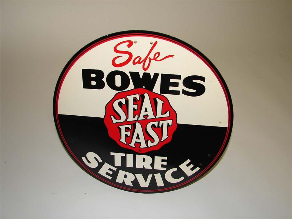 "1950s Bowes ""Safe"" Seal Fast Tire Service single-sided tin painted garage sign. - Front 3/4 - 113149"