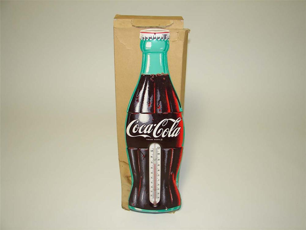 N.O.S. 1950s Coca-Cola die-cut tin bottle-shaped thermometer still in the original box. - Front 3/4 - 113152