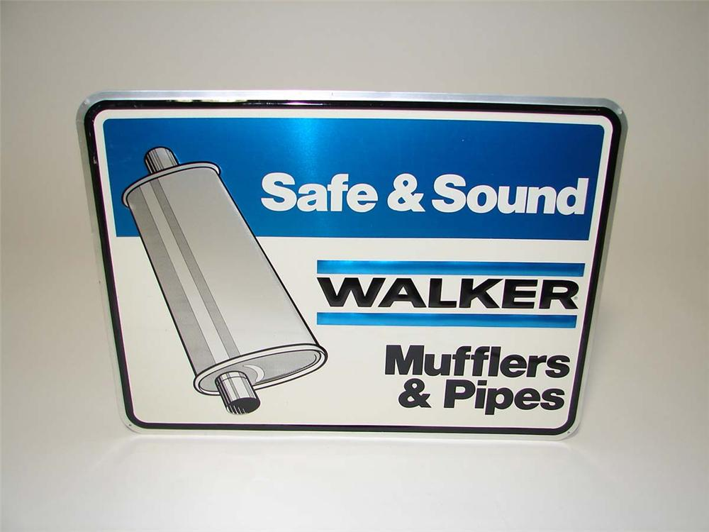 N.O.S. Walker Mufflers and Pipes single-sided embossed tin garage sign. - Front 3/4 - 113154