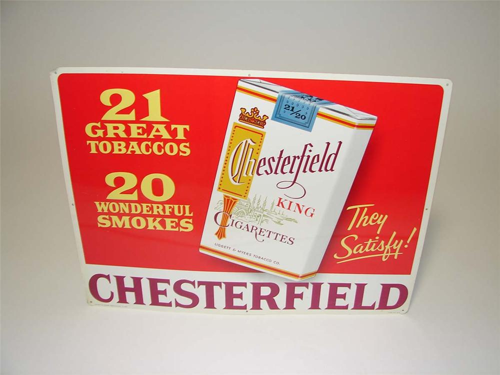 N.O.S. late 1950s Chesterfield Cigarettes single-sided embossed tin general store sign. - Front 3/4 - 113155