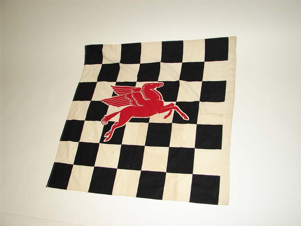 Nifty 1950s Mobil Oil original speedway checkered flag with Pegasus logo. - Front 3/4 - 113164