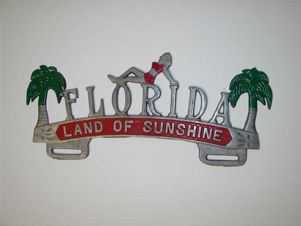 """1930s-40s Florida """"Land of Sunshine"""" license plate attachment sign. - Front 3/4 - 113166"""