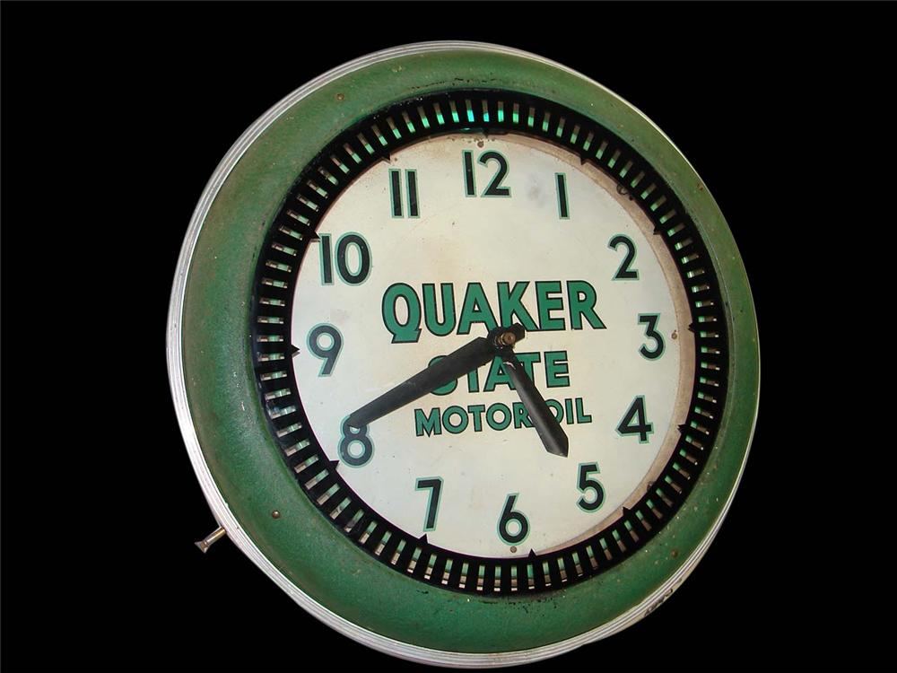 1930s Quaker State Motor Oil neon service station clock. Appears to be all original. - Front 3/4 - 113172