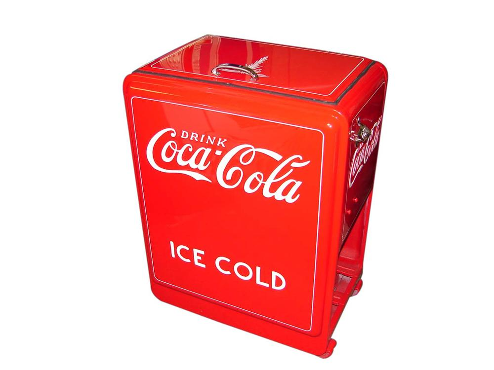 """1920s-30s Coca-Cola """"""""princess"""" general store ice chest that has been professionally restored beyond original. - Front 3/4 - 113174"""