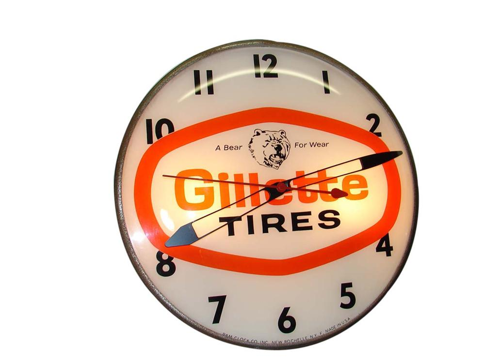 "Nifty late 1950s-60s Gillette Tires ""A Bear for Wear"" light-up glass faced service station clock. - Front 3/4 - 113176"