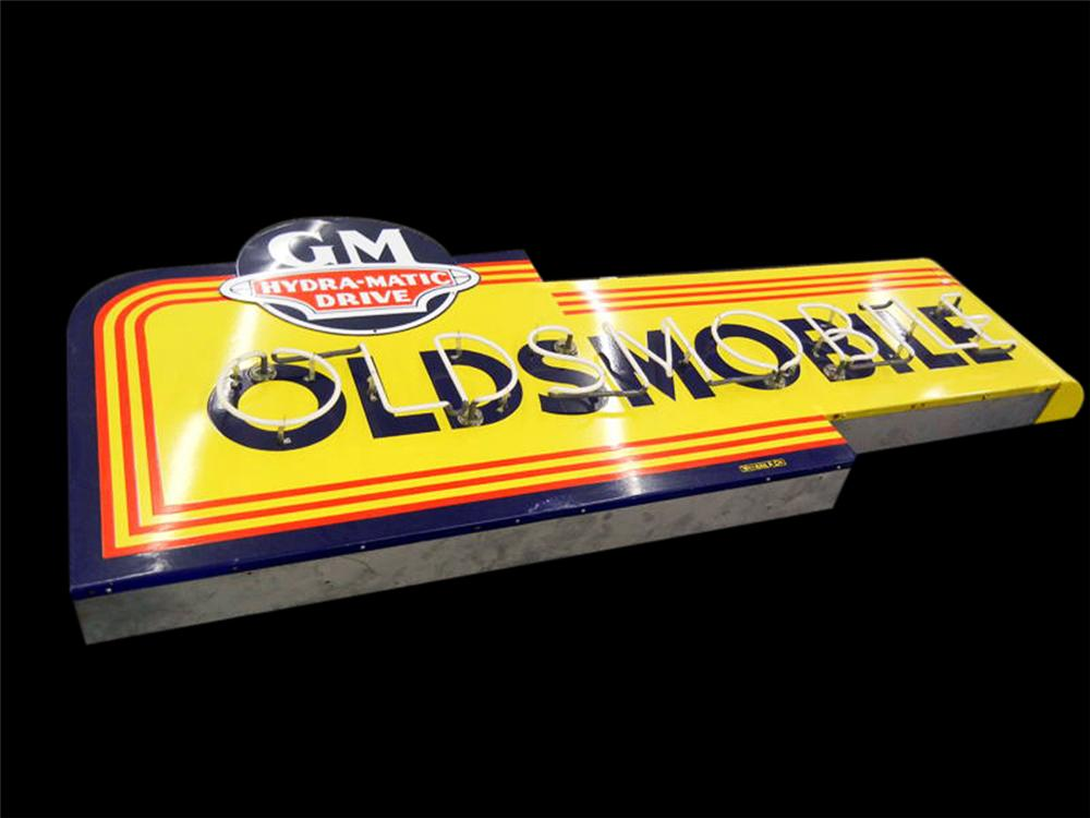 Superb 1940s-50s Oldsmobile GM Hydramatic Drive single-sided porcelain neon dealership sign. - Front 3/4 - 113177