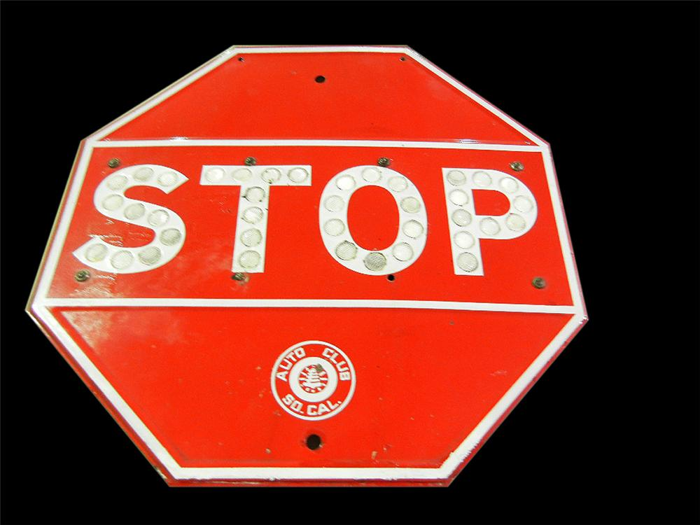 """Early Auto Club of California porcelain stop sign with refelective jewels """"cat eyes"""". - Front 3/4 - 113185"""