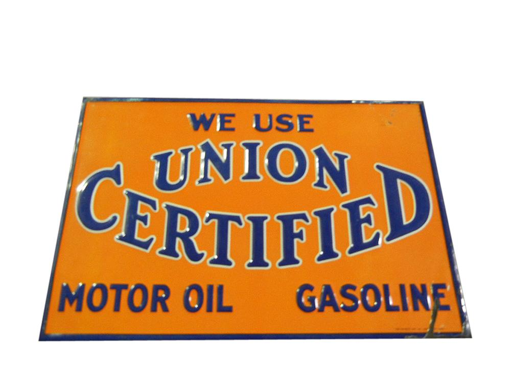 1930s Union Certified Motor Oil embossed tin service station sign. - Front 3/4 - 113192