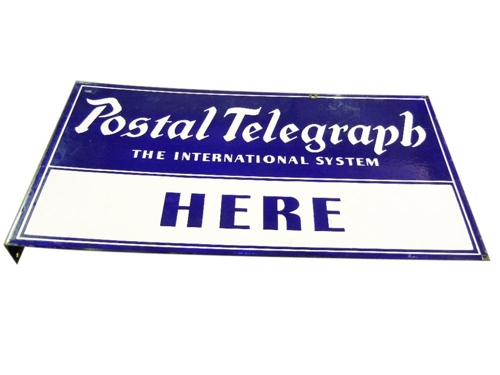 Out of the ordinary 1930s Postal Telegraph double-sided porcelain flange sign. - Front 3/4 - 113194