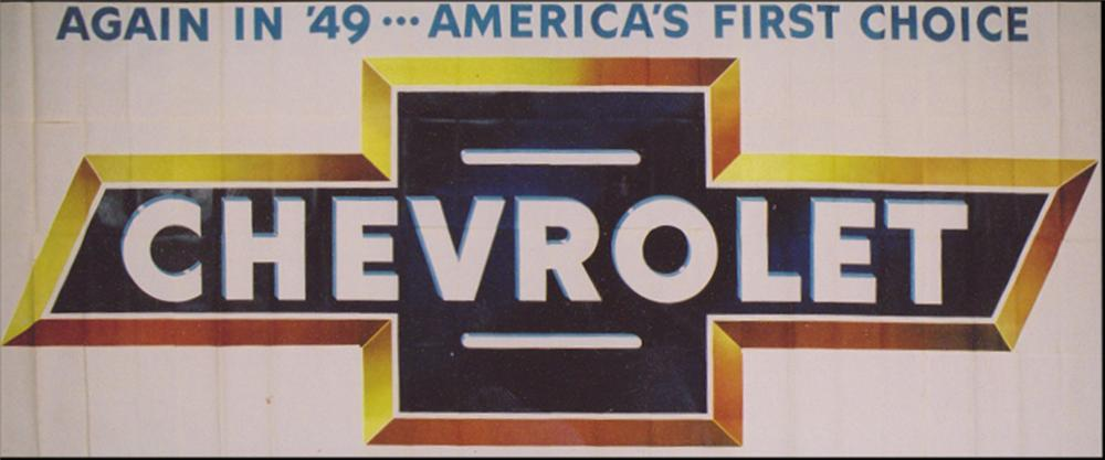 Fabulous N.O.S. 1949 Chevrolet Car roadside billboard sign. - Front 3/4 - 113246